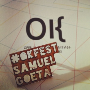 Badge Open knowledge Festival gravé en 3D