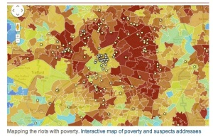 Cartes des émeutes de Londres en fonction de la pauvreté des émeutiers